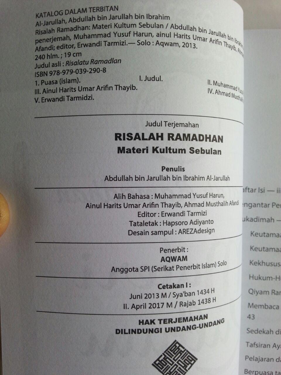Buku Risalah Ramadhan Materi Kultum Sebulan isi
