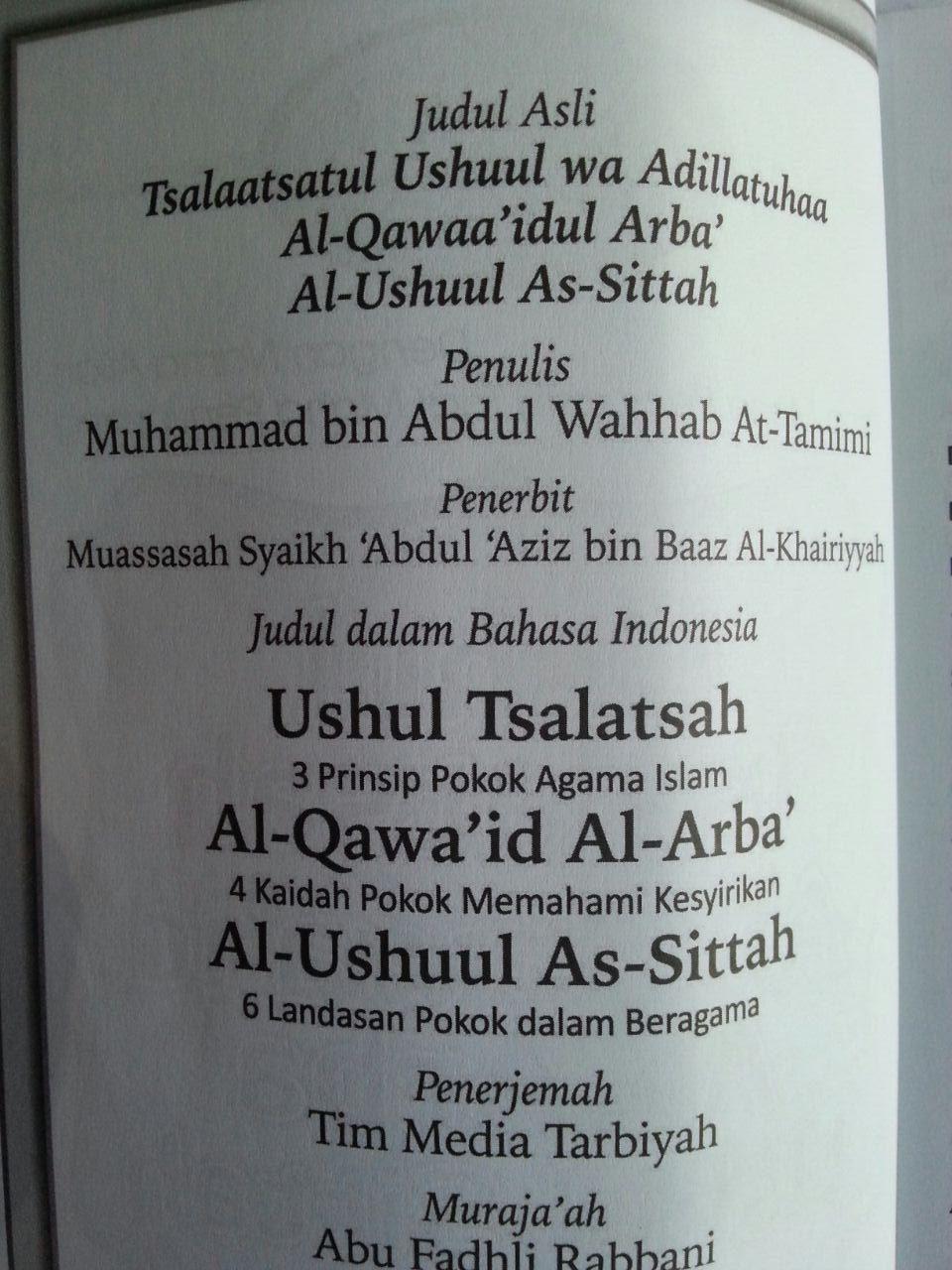 Buku Ushul Tsalatsah Al-Qawa'id Al-Arba' Ushul Sittah isi