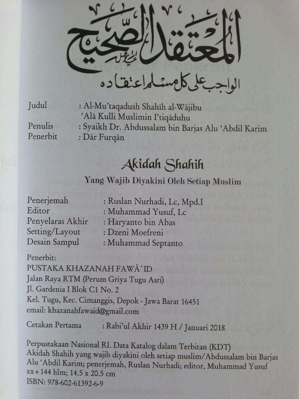 Buku Aqidah Shahih Yang Wajib Diyakini Oleh Setiap Muslim isi 2