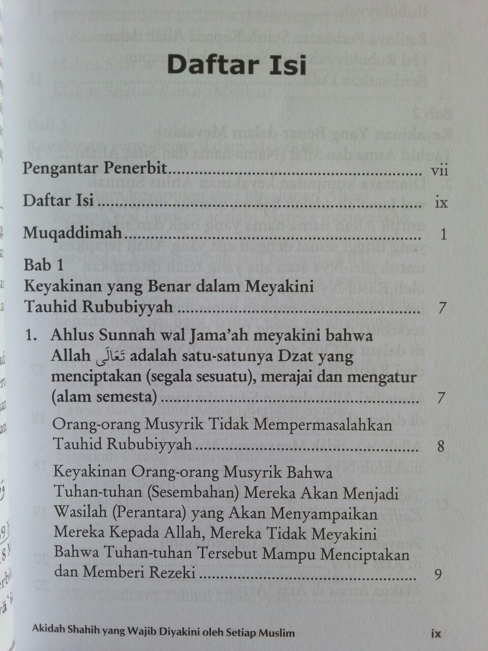Buku Aqidah Shahih Yang Wajib Diyakini Oleh Setiap Muslim isi