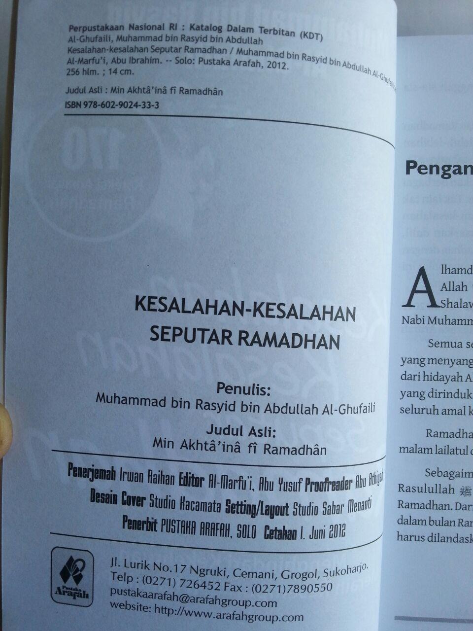 Buku Kesalahan-Kesalahan Seputar Ramadhan 170 Koreksi isi