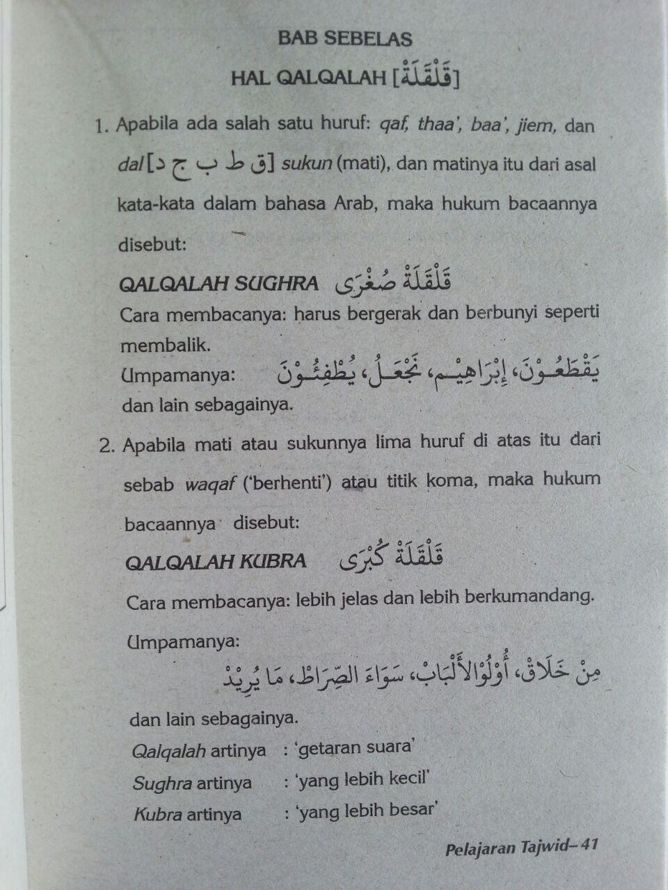Buku Pelajaran Tajwid Qaidah Bagaimana Membaca Al-Quran isi