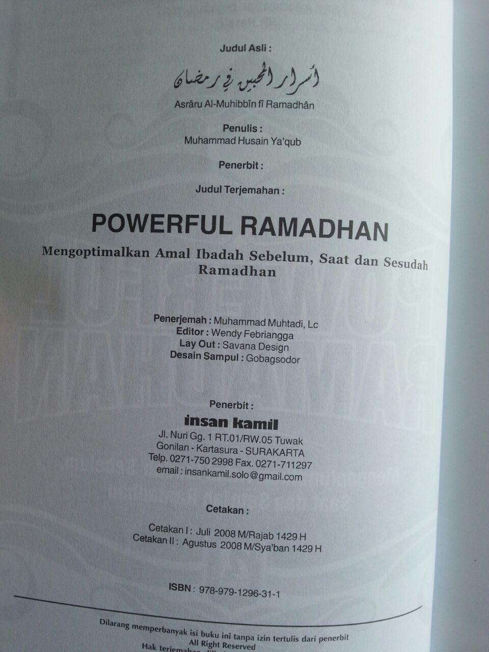 Buku Powerful Ramadhan Mengoptimalkan Amal Ramadhan isi