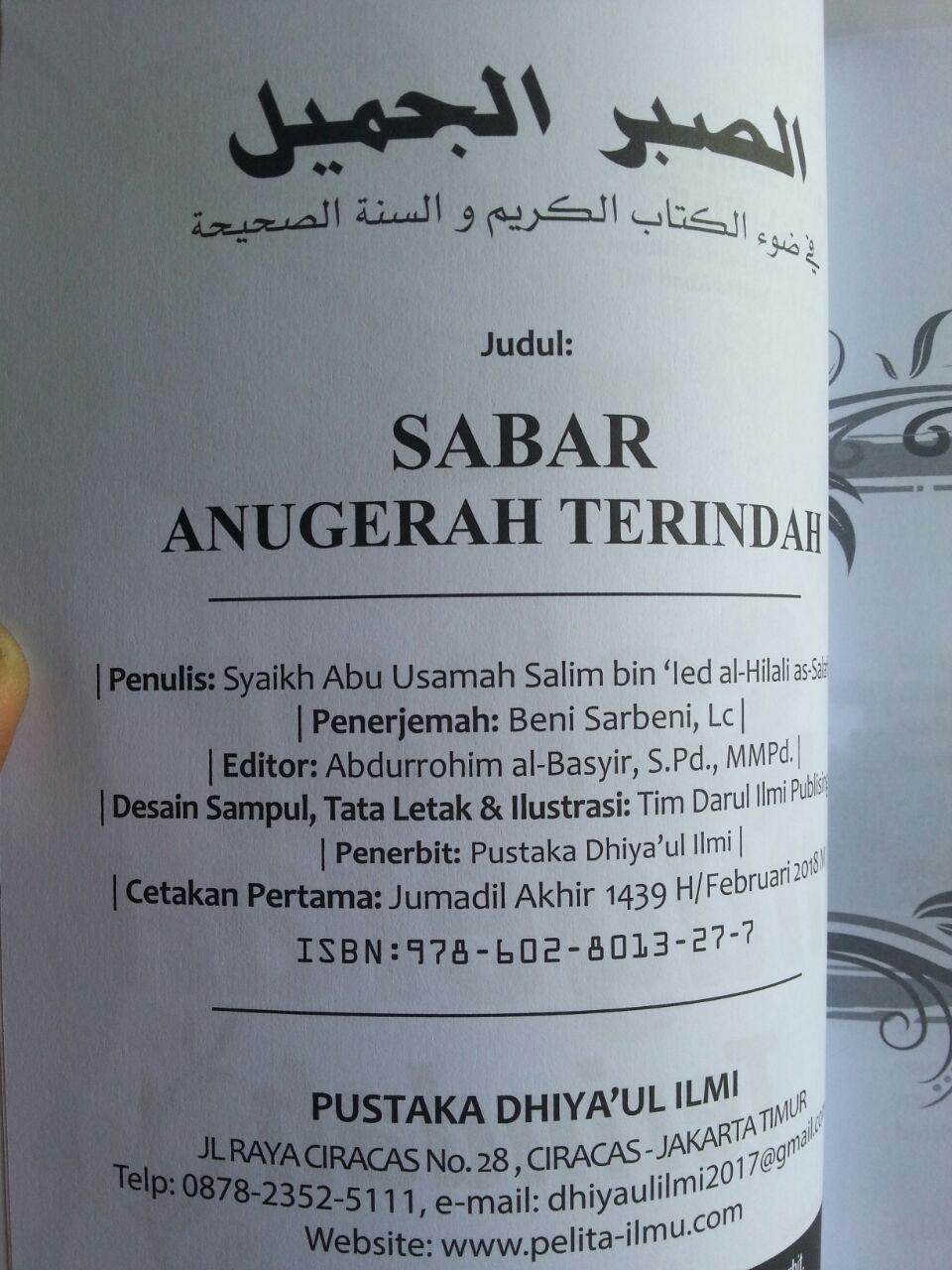 Buku Sabar Anugerah Terindah Tips Meraih Pahala Tanpa Batas isi