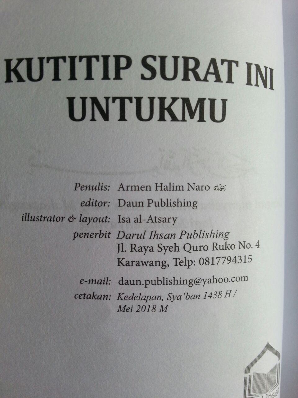 Buku Saku Kutitip Surat Ini Untukmu isi