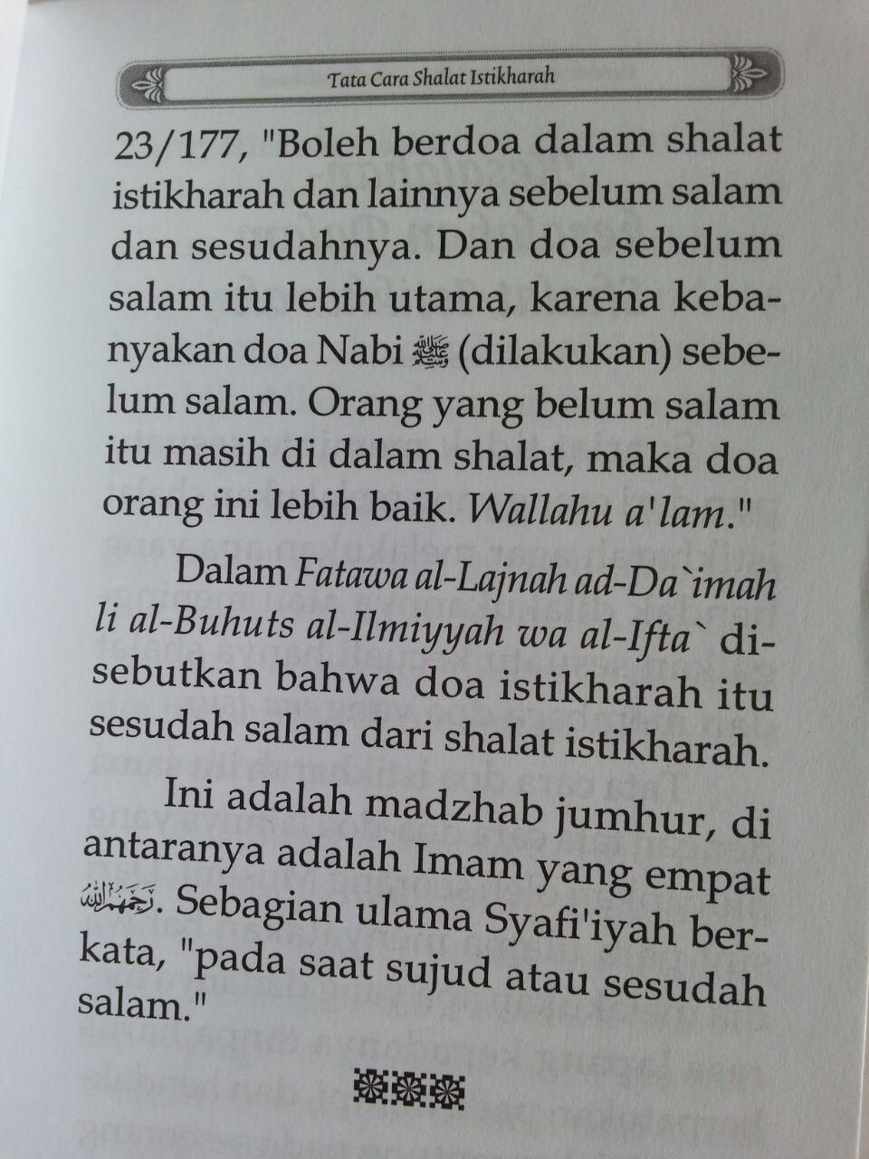 Buku Saku Tuntunan Shalat Istikharah Sesuai Sunnah Nabi isi