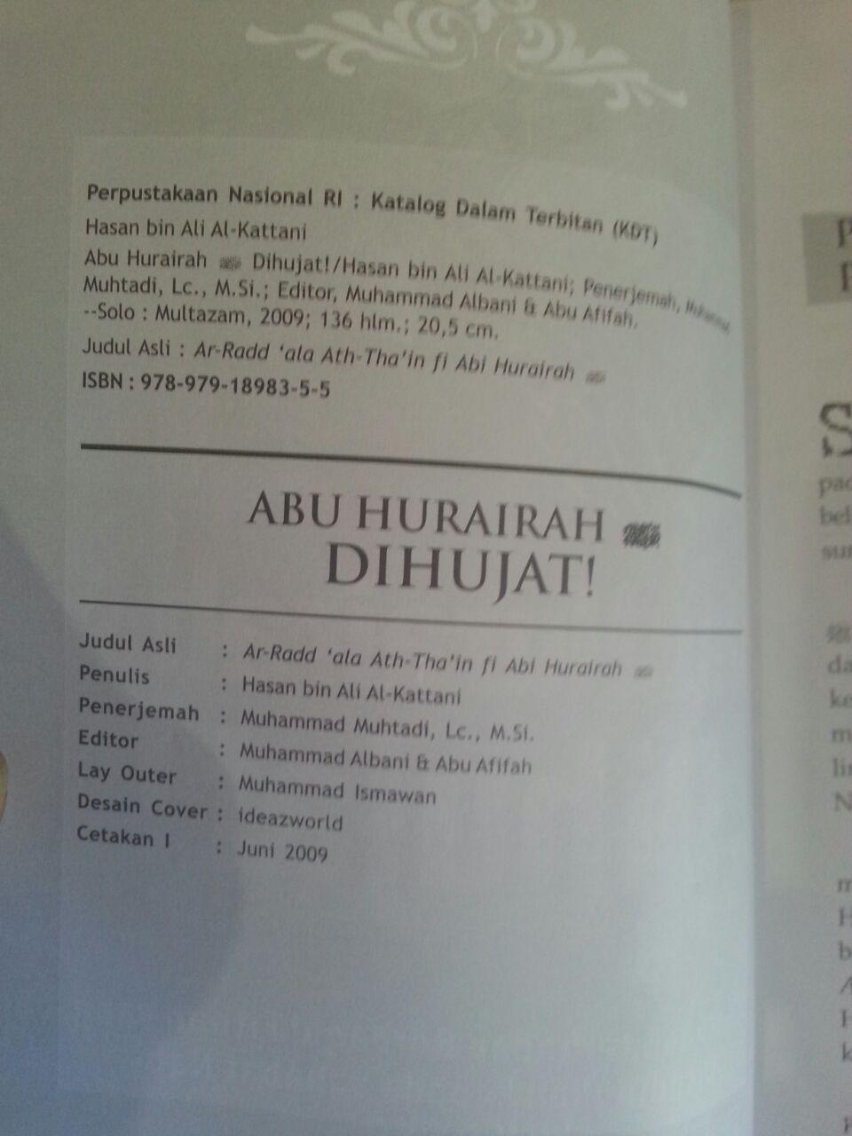Buku Abu Hurairah Dihujat Bantahan Terhadap Berbagai Fitnah isi 2
