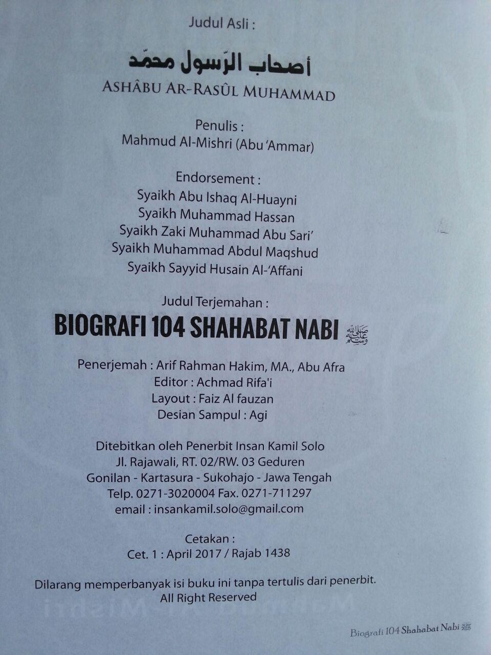 Buku Biografi 104 Shahabat Nabi isi 2