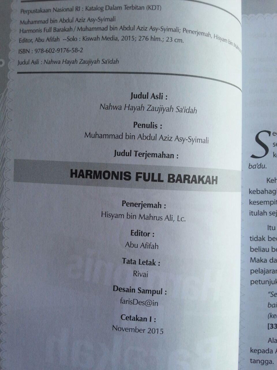 Buku Harmonis Full Barakah Cara Nabi Mewujudkan Keharmonisan isi