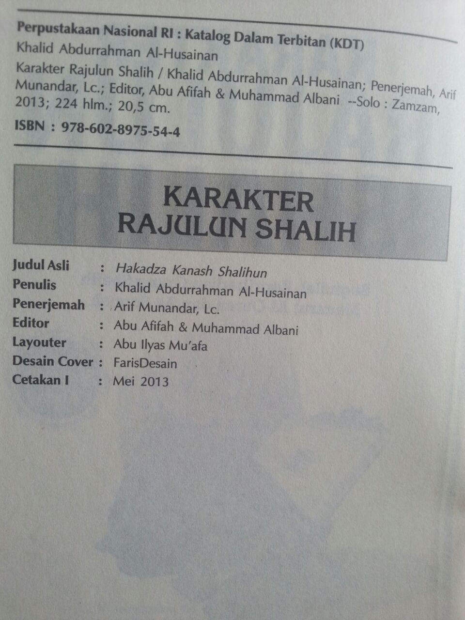 Buku Karakter Rajulun Shalih Kepribadian Menurut Quran Sunnah isi
