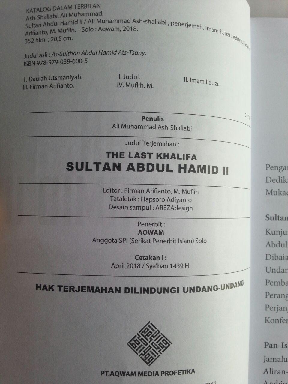 Buku Sultan Abdul Hamid II The Last Khalifa isi
