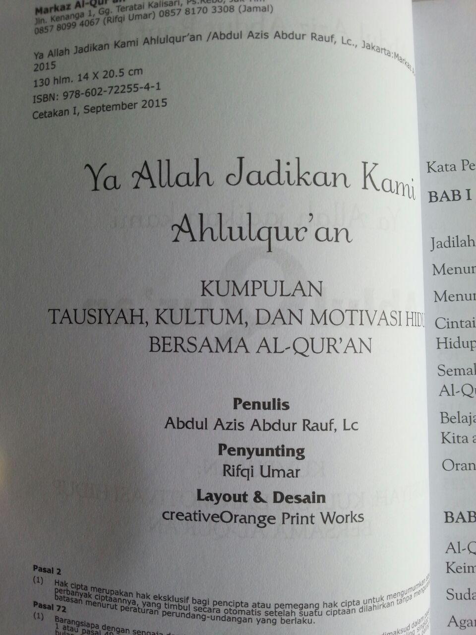 Buku Ya Allah Jadikan Kami Ahlul Quran Kumpulan Motivasi 1 isi