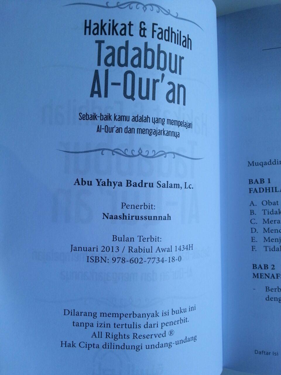 Buku Hakikat Dan Fadhilah Tadabbur Al-Qur'an isi