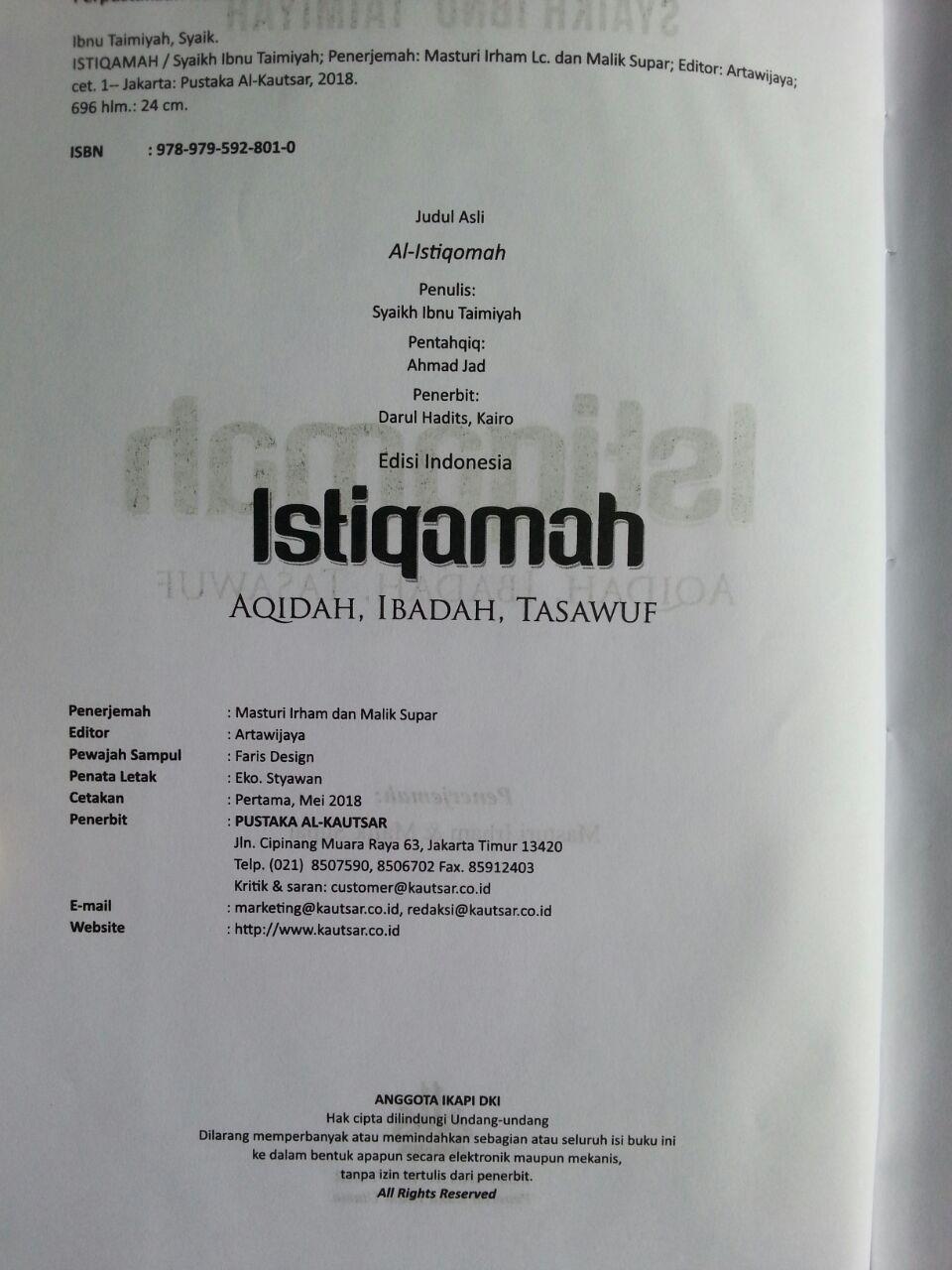 Buku Istiqamah Pelajaran Akidah Ibadah Dan Tasawuf isi 2