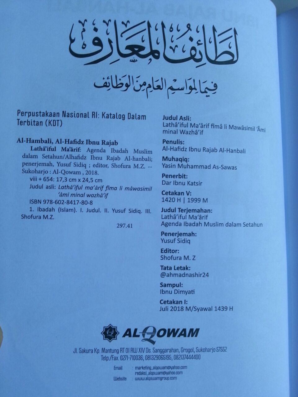 Buku Lathaiful Maarif Agenda Ibadah Muslim Dalam Setahun isi 2