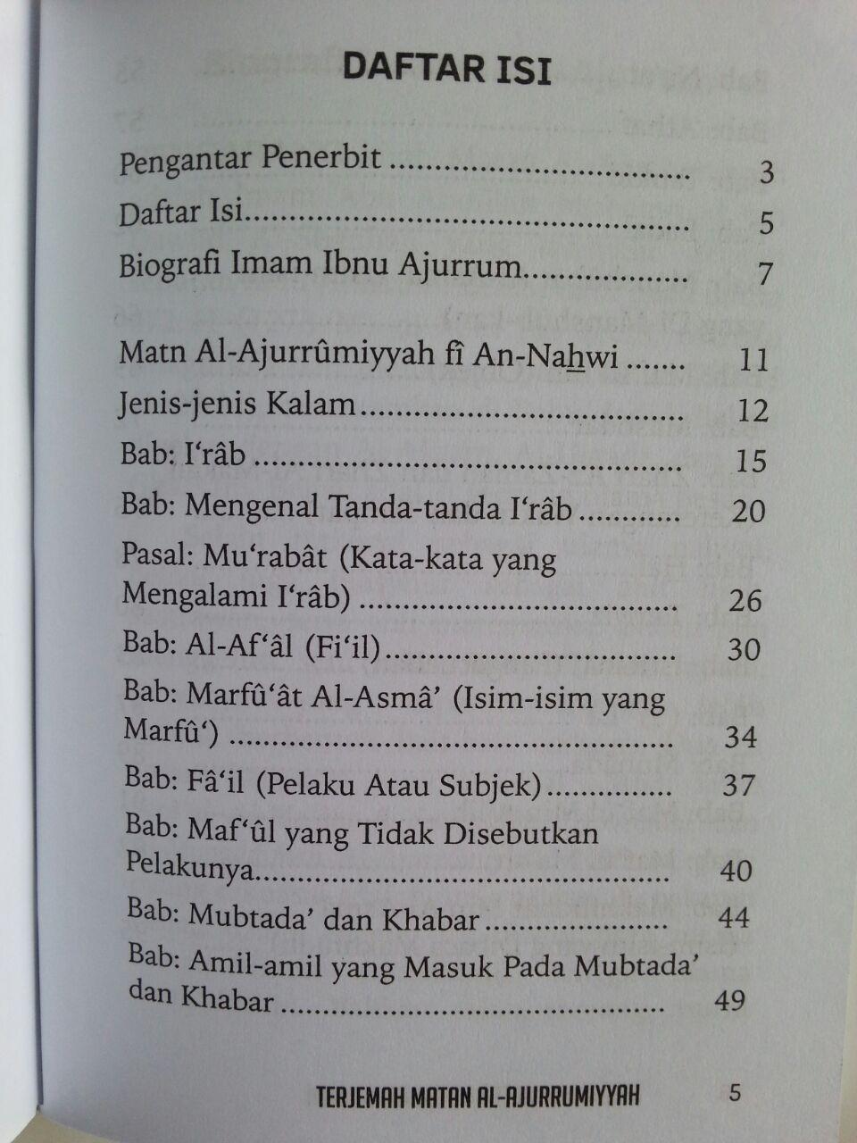 Buku Saku Terjemah Matan Al-Ajurrumiyyah isi 2