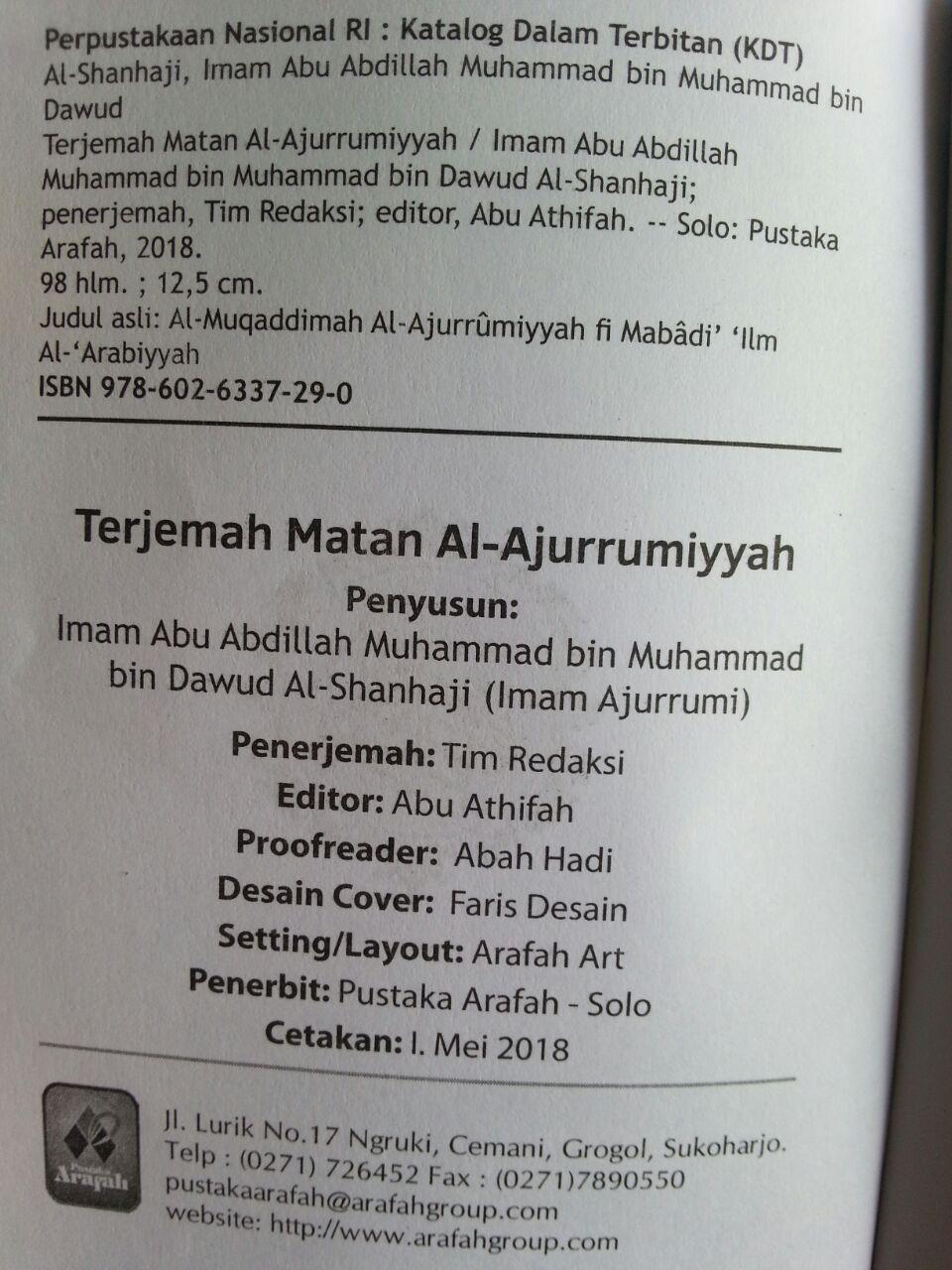 Buku Saku Terjemah Matan Al-Ajurrumiyyah isi