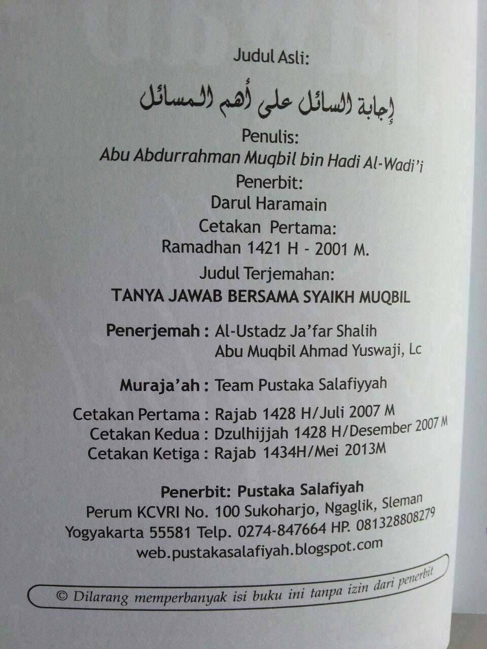 Buku Tanya Jawab Bersama Syaikh Muqbil Set 2 Jilid isi 2