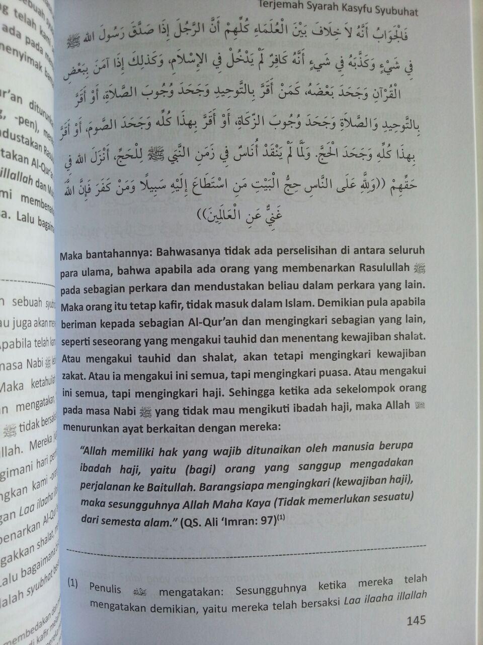 Buku Terjemah Syarah Kasyfu Asy Syubuhat Kerancuan Aqidah isi 3