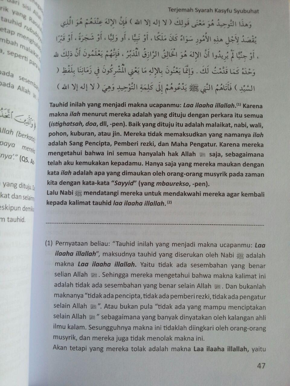 Buku Terjemah Syarah Kasyfu Asy Syubuhat Kerancuan Aqidah isi