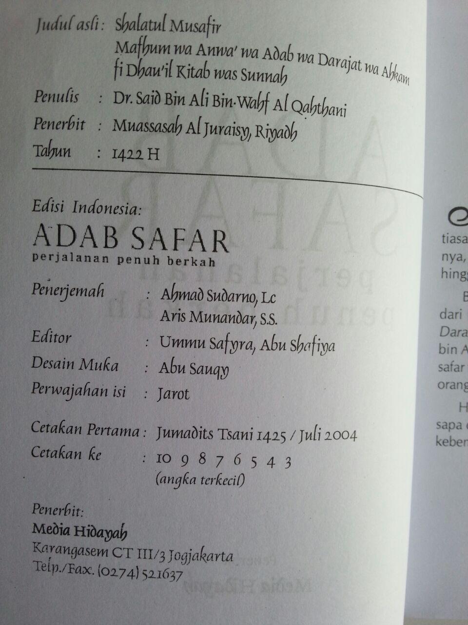 Buku Adab Safar Perjalanan Penuh Berkah isi