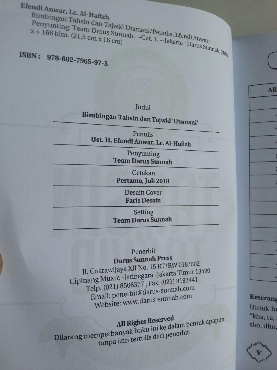 Buku Bimbingan Tahsin Dan Tajwid Utsmani isi
