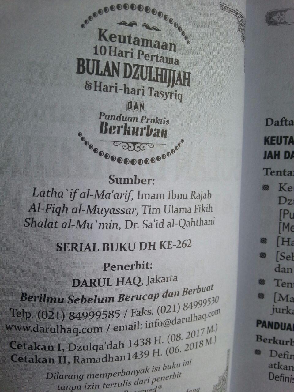 Buku Saku Keutamaan 10 Hari Pertama Bulan Dzulhijjah Tasyriq Kurban isi