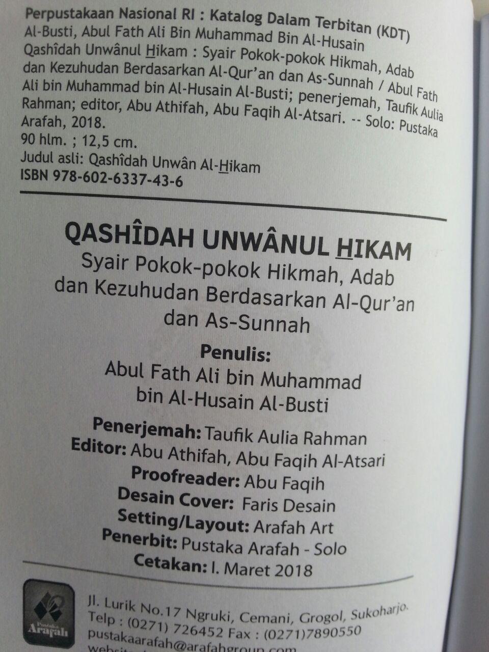 Buku Saku Qashidah Unwanul Hikam Syair Pokok Hikmah Adab isi 2