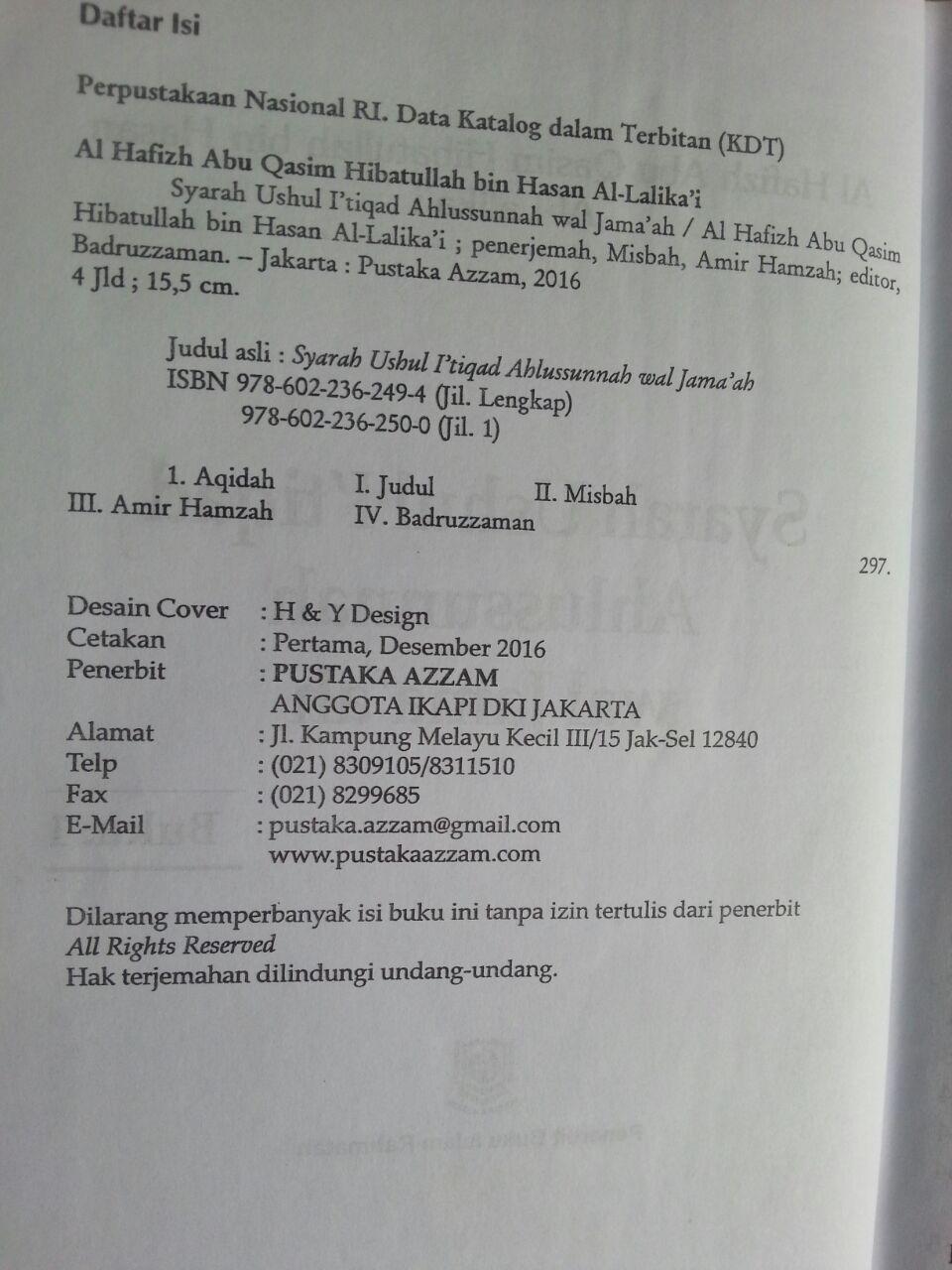 Buku Syarah Ushul I'tiqad Ahlussunnah Wal Jama'ah Set 8 Jilid 1 isi