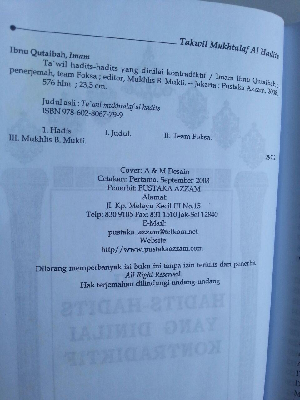 Buku Ta'wil Hadits-Hadits Yang Dinilai Kontrakdiktif isi