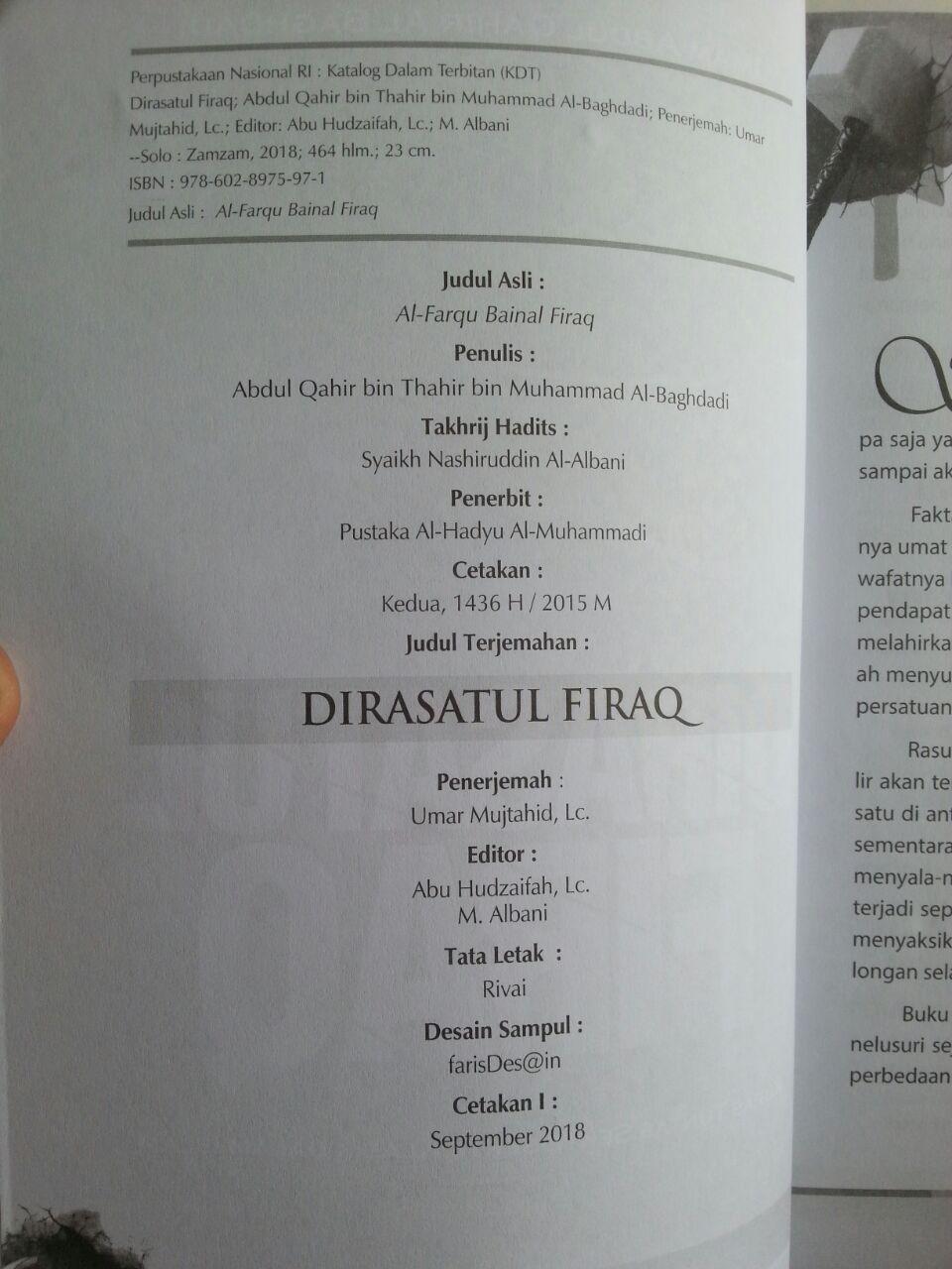 Buku Dirasatul Firaq Kupas Tuntas Sekte-Sekte Klasik Dalam islam isi 2