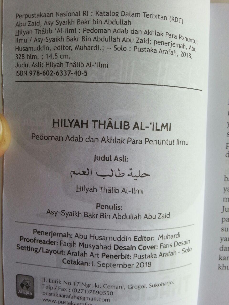 Buku Hilyah Thalib Al-Ilmi Pedoman Adab Akhlak Penuntut Ilmu isi 2