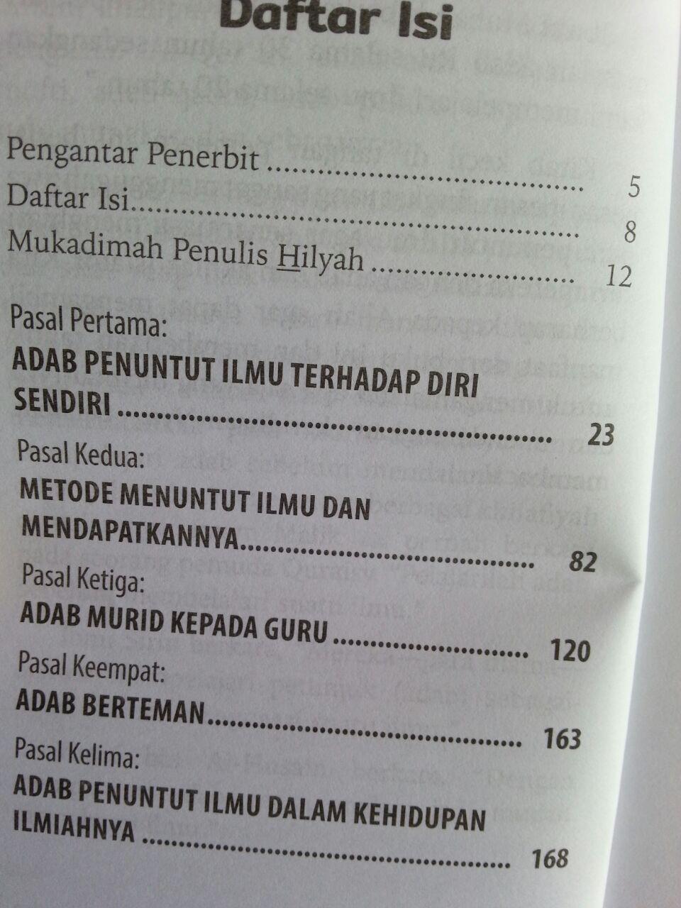 Buku Hilyah Thalib Al-Ilmi Pedoman Adab Akhlak Penuntut Ilmu isi
