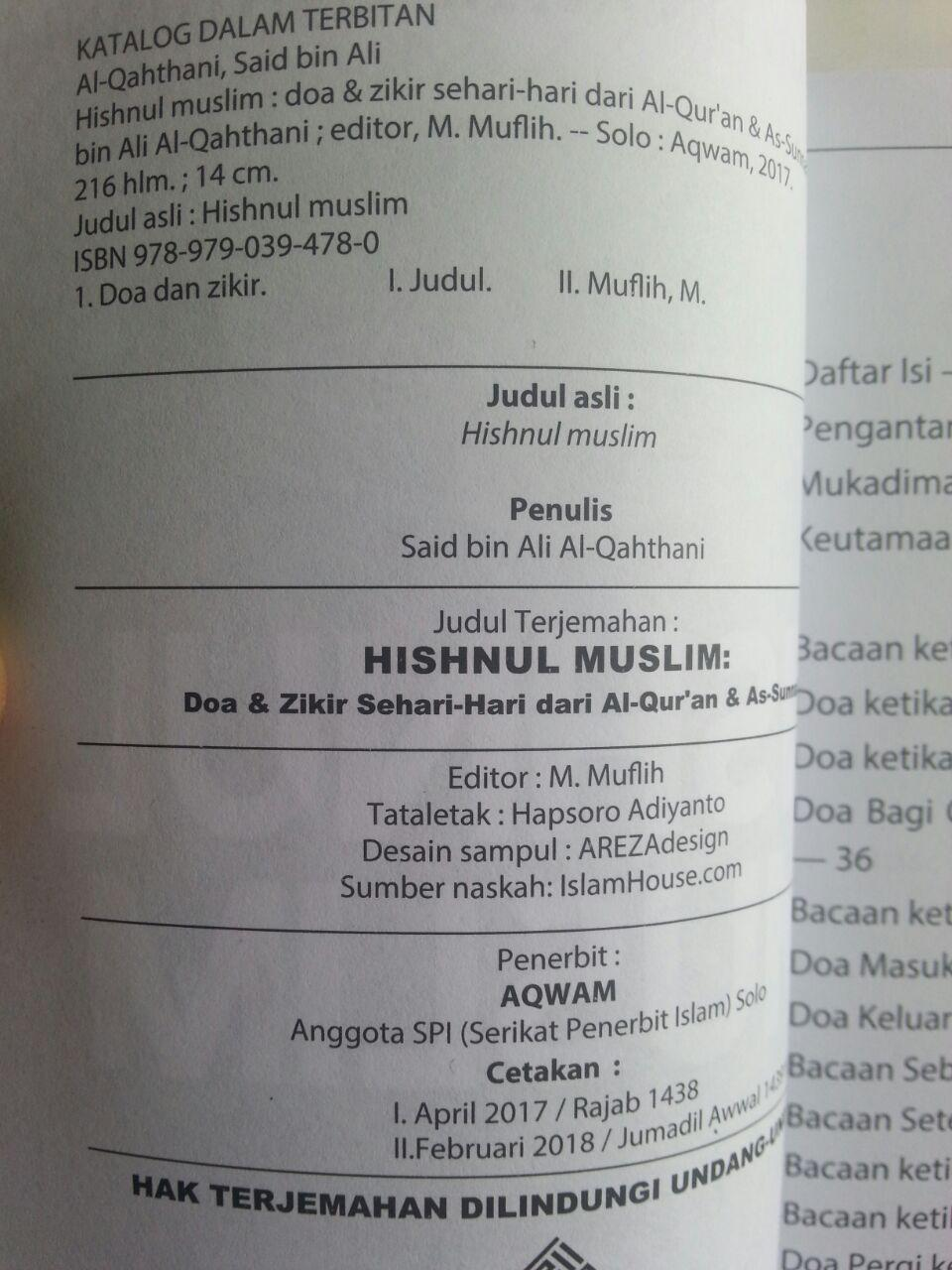Buku Hishnul Muslim Doa Dan Zikir Sehari-Hari Dari Quran Sunnah isi