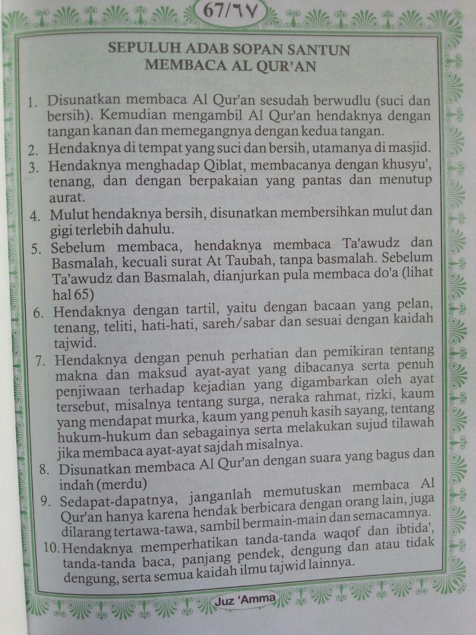 Buku Iqro Cara Cepat Belajar Membaca Al-Quran Plus Juz Amma Terjemah 2 Warna isi