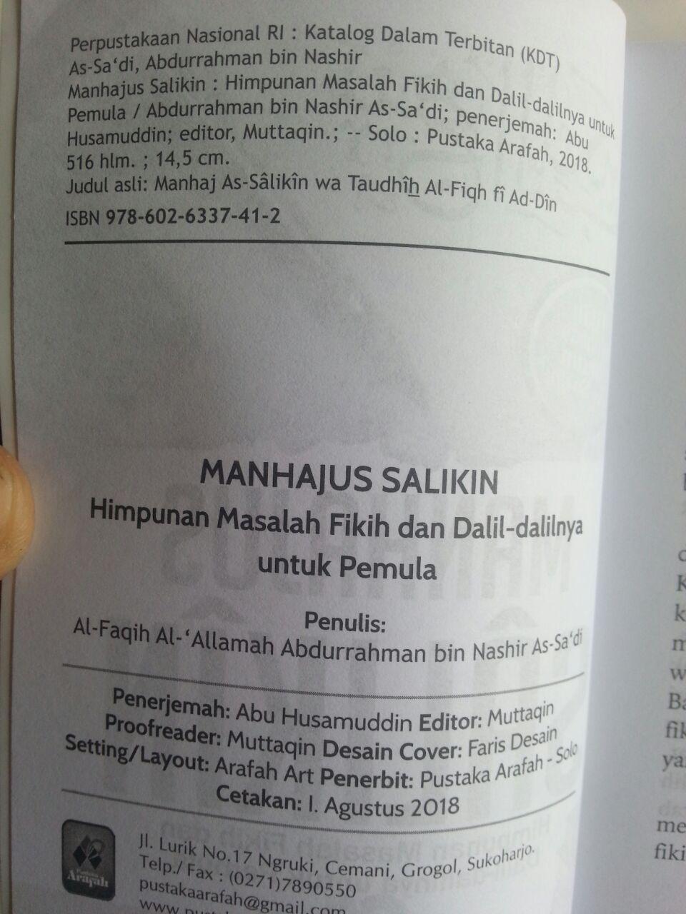 Buku Manhajus Salikin Himpunan Masalah Fikih Dan Dalilnya Untuk Pemula isi