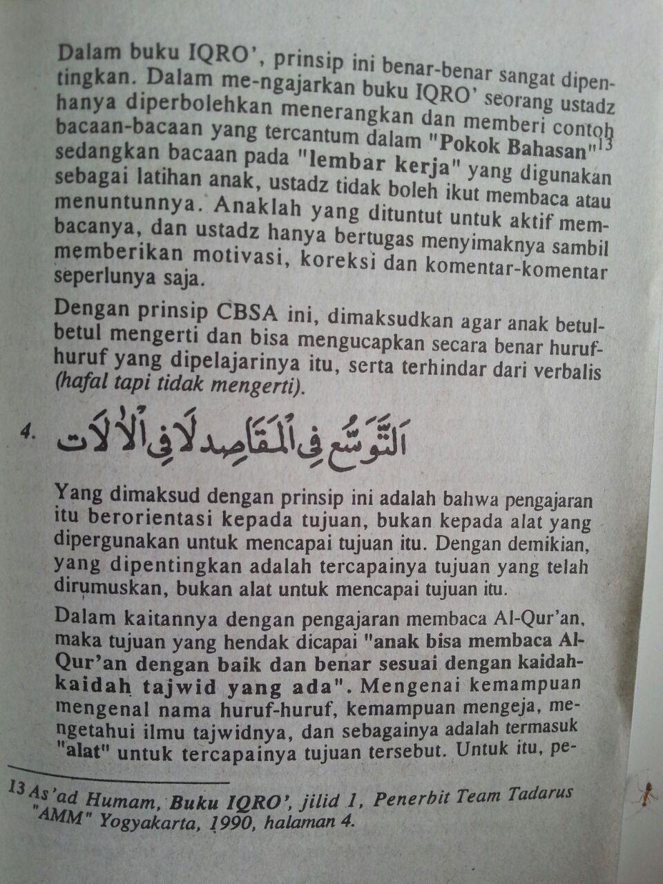 Buku Prinsip-Prinsip Metodologi Buku Iqro Cara Cepat Belajar Membaca Al-Quran isi