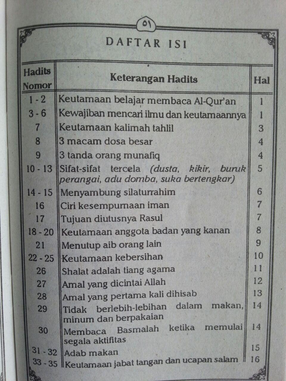 Buku Seratus Hadits Terjamah Lafdziyah Pegangan Santri Pasca TKATPA isi