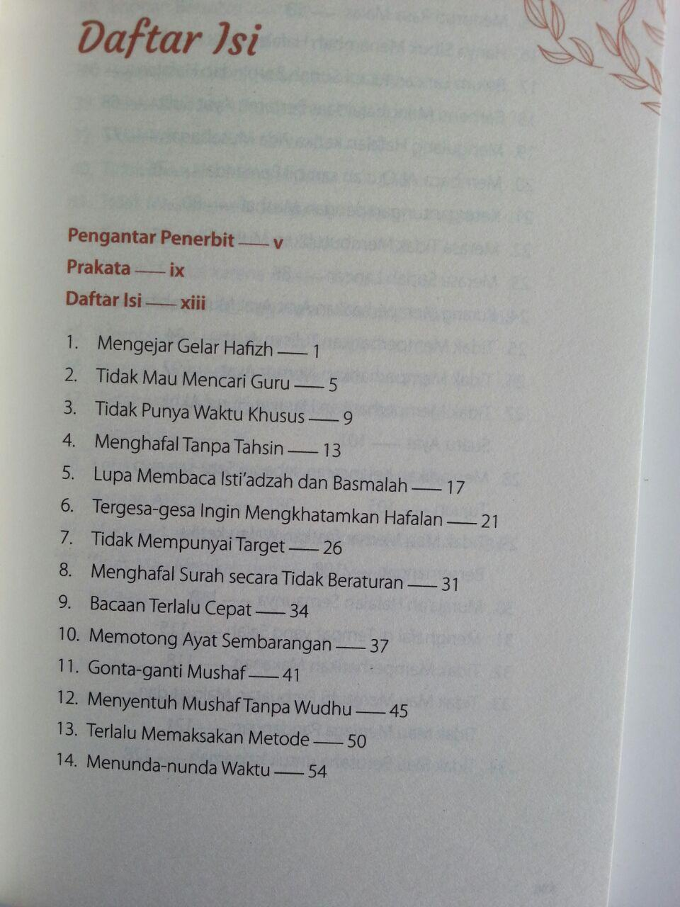 Buku 50 Kesalahan Dalam Menghafal Al-Qur'an Yang Perlu Anda Ketahui isi