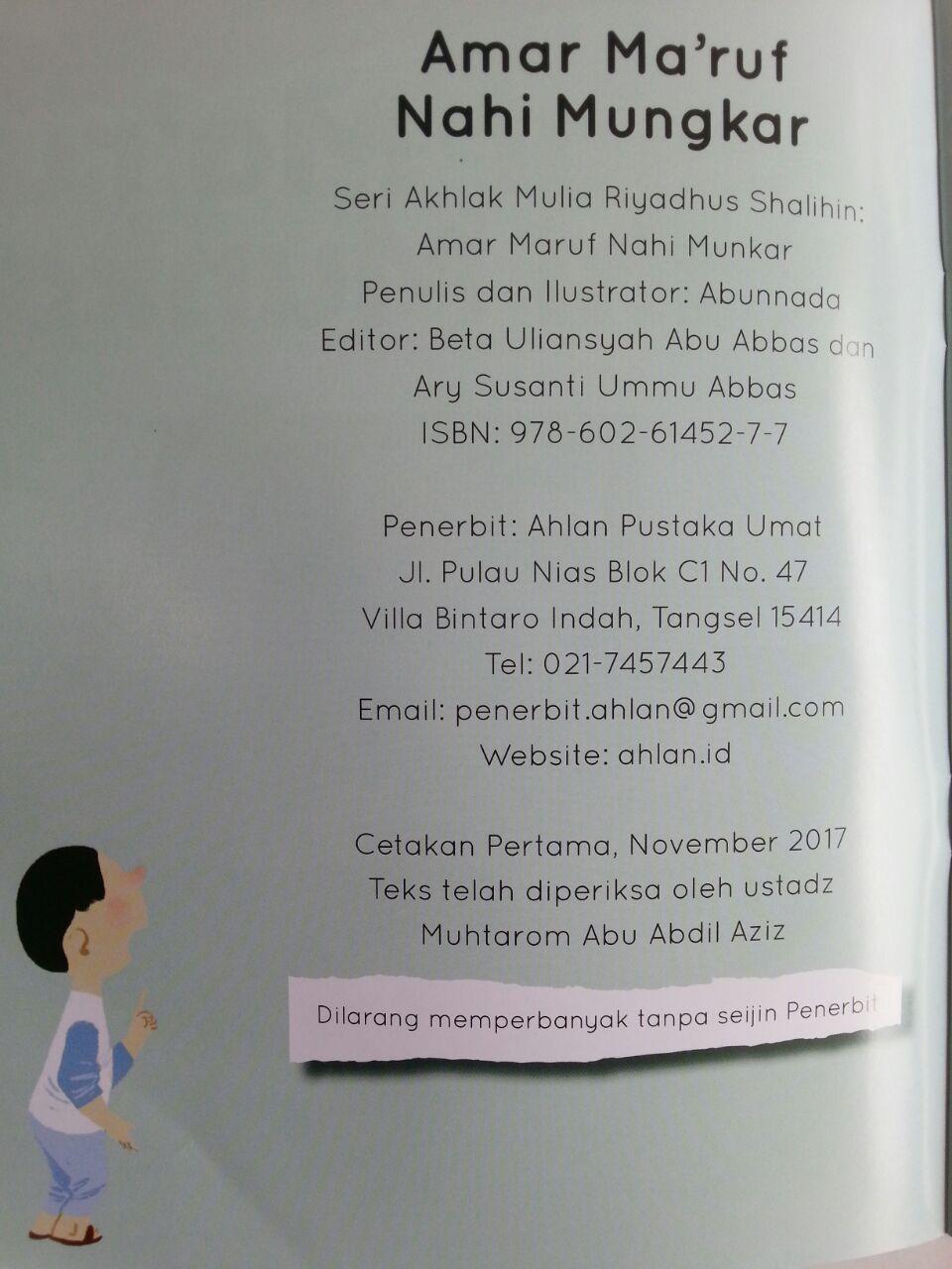 Buku Anak Seri Riyadhus Shalihin For Kids Amar Maruf Nahi Munkar isi