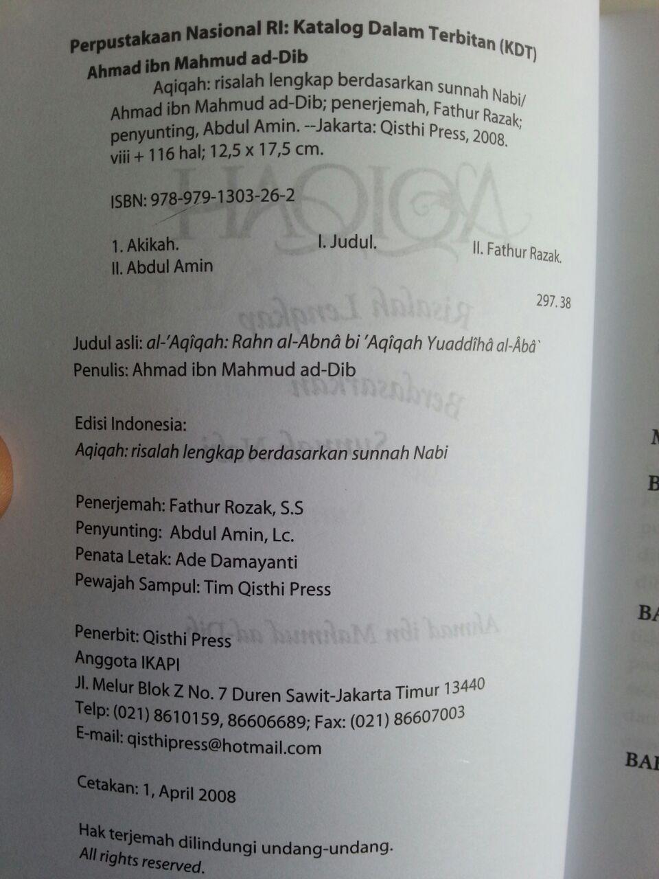 Buku Aqiqah Risalah Lengkap Berdasarkan Sunnah Nabi isi