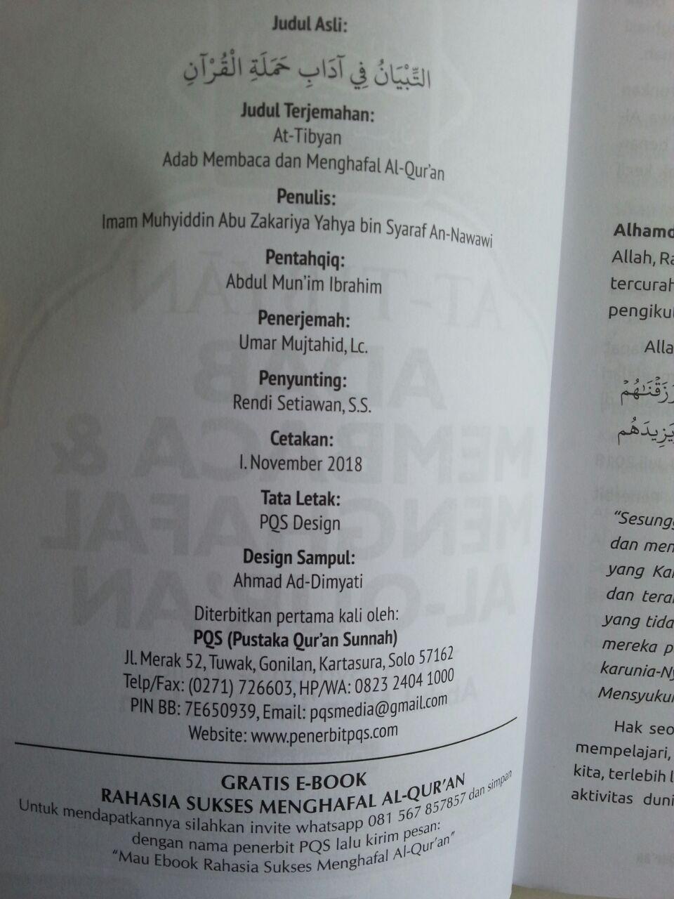 Buku At-Tibyan Adab Membaca Dan Menghafal Al-Qur'an isi 2