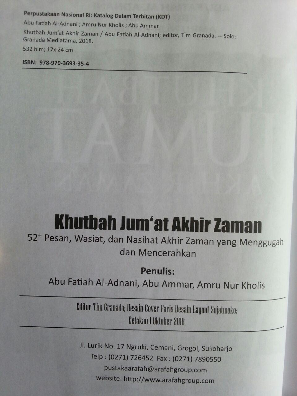 Buku Khutbah Jum'at Akhir Zaman 52 Pesan Wasiat Nasihat Menggugah isi 2