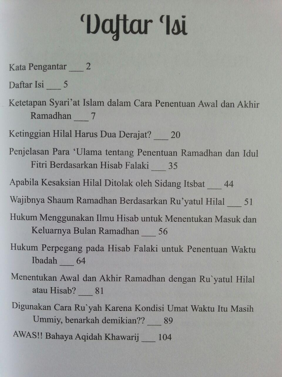 Buku Menentukan Awal Dan Akhir Ramadhan Dengan Ru'yatul Atau Hisab isi 2