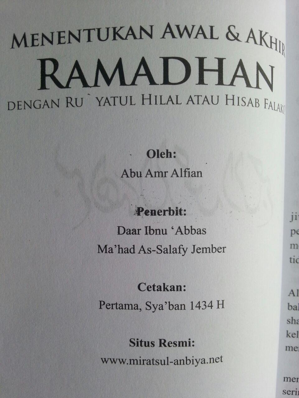 Buku Menentukan Awal Dan Akhir Ramadhan Dengan Ru'yatul Atau Hisab isi