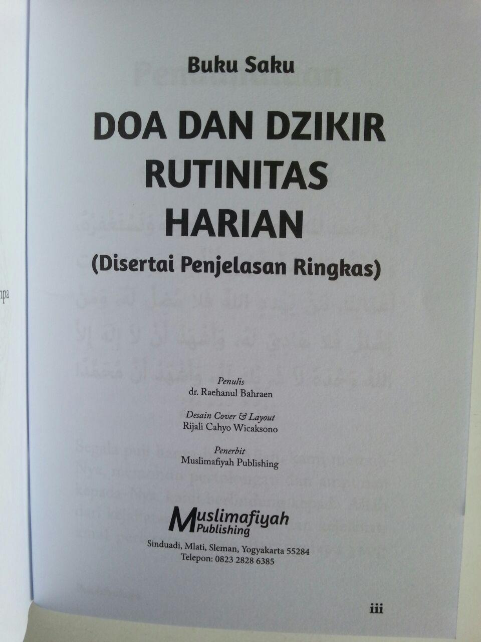 Buku Saku Doa Dan Dzikir Rutinitas Harian Disertai Penjelasan Ringkas isi 2
