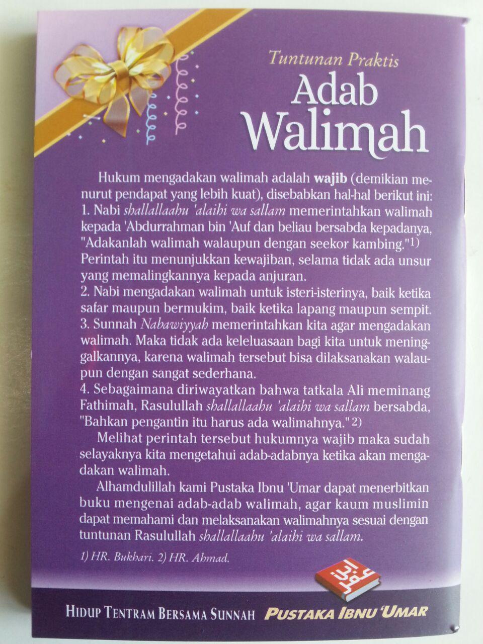 Buku Saku Tuntunan Praktis Adab Walimah Menurut Qur'an Dan Sunnah cover