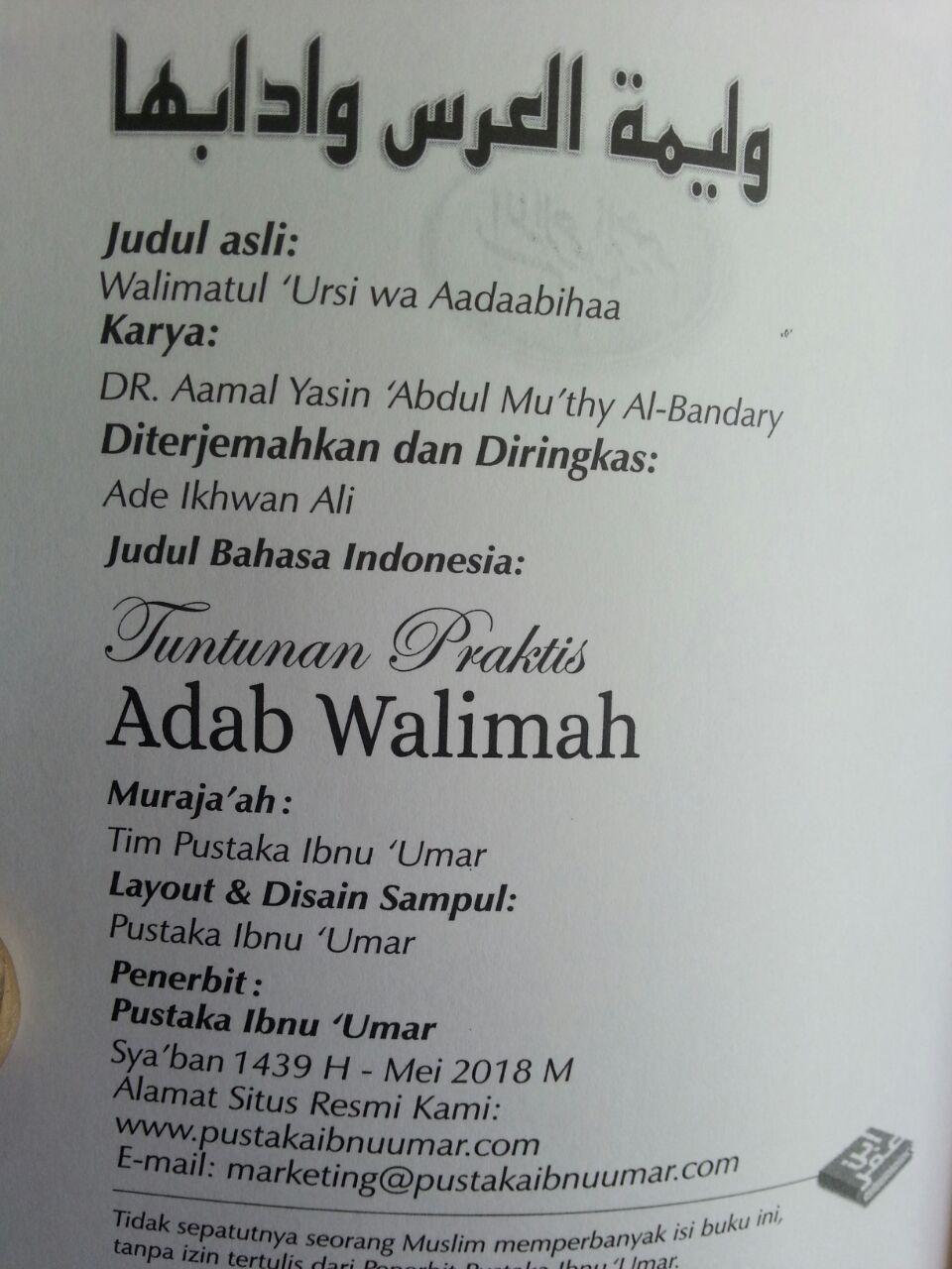 Buku Saku Tuntunan Praktis Adab Walimah Menurut Qur'an Dan Sunnah isi 2