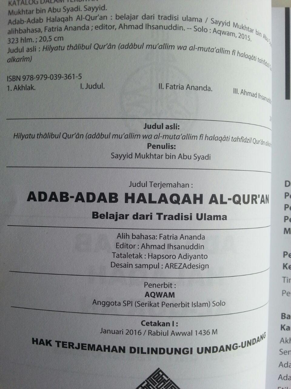 Buku Adab-Adab Halaqah Al-Qur'an Belajar Dari Tradisi Ulama isi
