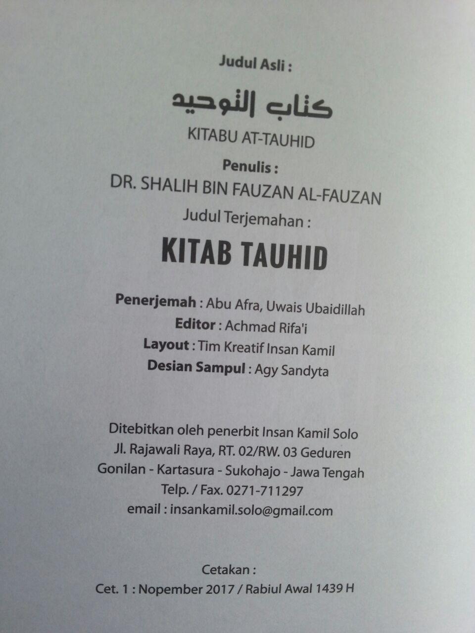 Buku Kitab Tauhid Syaikh Fauzan isi 2